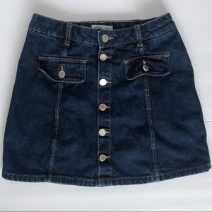 Zara TRF Button Front Mini Jean Skirt Size Small